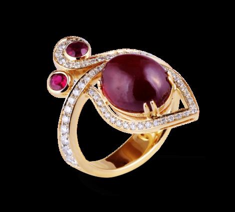 Кольцо из золота с бриллиантами и рубинами, артикул 33435-1 - Baskrin