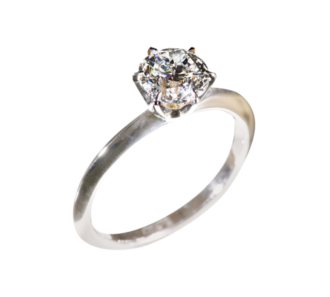 Кольцо из белого золота с бриллиантом, артикул 33155 - Baskrin