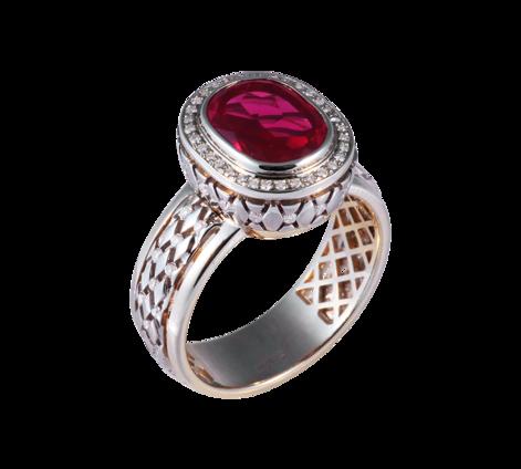 Кольцо из белого золота с бриллиантами и рубином, артикул 33430 - Baskrin