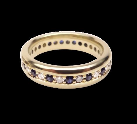 Кольцо из золота с бриллиантами и сапфирами, артикул 33445a - Baskrin