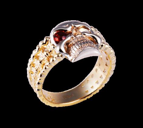 Кольцо из золота с бриллиантами и гранатом, артикул 33438 - Baskrin