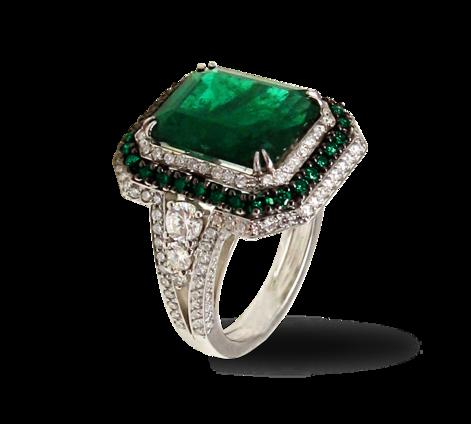 Кольцо из белого золота с бриллиантами и изумрудом, артикул 33264 - Baskrin