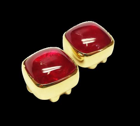 Запонки из золота с рубинами, артикул 20052_ - Baskrin