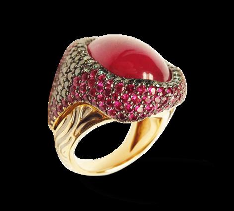 Кольцо из золота с рубинами и бриллиантами, артикул 33262 - Baskrin
