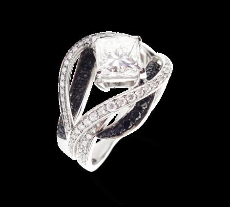 Кольцо из белого золота с белыми и черными бриллиантами, артикул 33331 - Baskrin