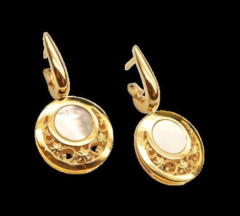 Серьги из золота с перламутром, артикул 43220 - Baskrin