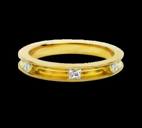 Кольцо из желтого золота с бриллиантами , артикул 33577a - Baskrin