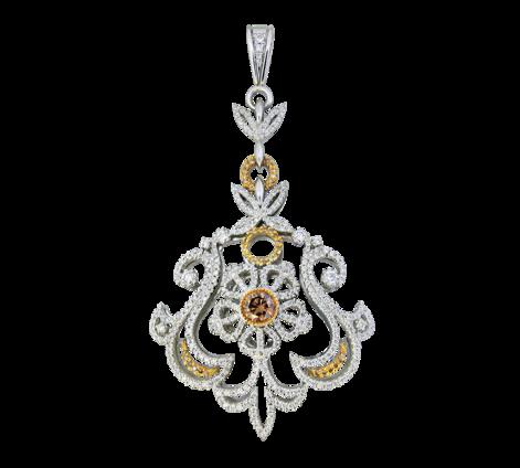 Подвеска из белого золота с бриллиантами, артикул 63060  - Baskrin