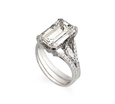 Кольцо из белого золота с бриллиантами, артикул 31134 - Baskrin