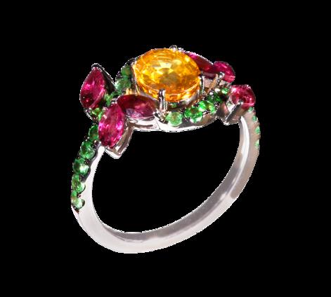 Оригинальное кольцо из белого золота с турмалинами, цаворитами и сапфиром, артикул 33418 - Baskrin