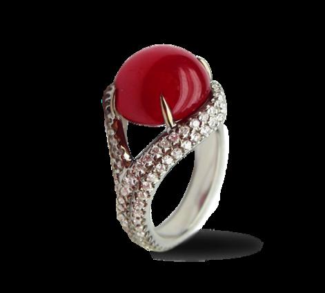 Кольцо из белого золота с бриллиантами и рубином, артикул 33119 - Baskrin