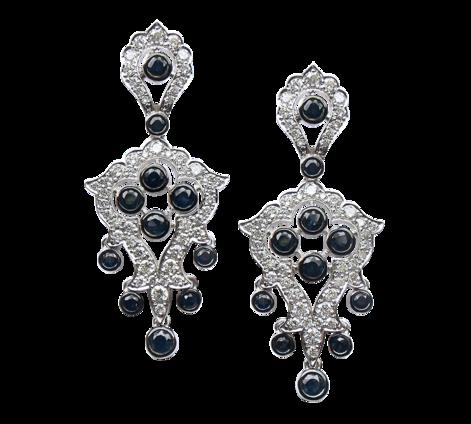 Серьги из белого золота с бриллиантами и сапфирами, артикул sergi3 - Baskrin