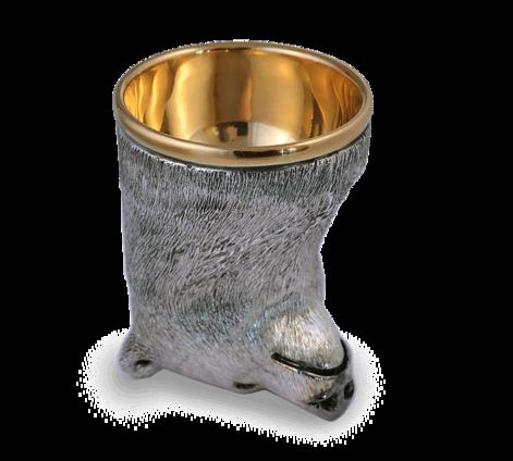 Рюмка-перевертыш из серебра с позолотой и гранатами, артикул медведь, фото 2 - Baskrin