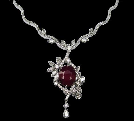 Колье из белого золота c бриллиантами и рубином, артикул 81040 - Baskrin