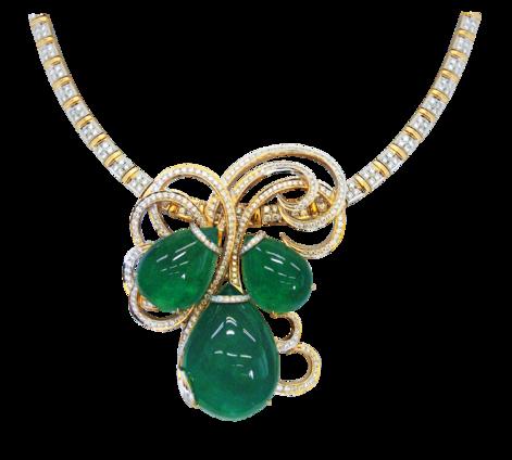 Колье из золота с бриллиантами и изумрудами, артикул 81034 - Baskrin