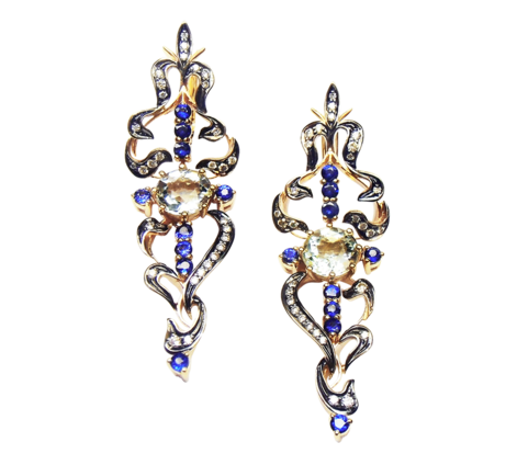 Серьги из белого золота с бриллиантами сапфирами и аквамаринами, артикул 43178 - Baskrin