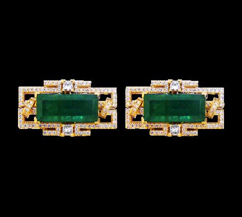 Эксклюзивные запонки из золота с бриллиантами и изумрудами, артикул 90073 - Baskrin