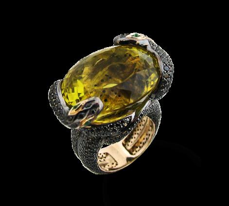 Кольцо из золота с белыми, черными бриллиантами и цитрином, артикул 33057 - Baskrin