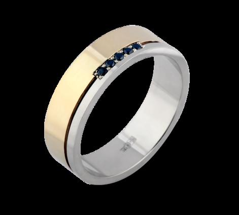 Кольцо из желтого и белого золота с черными бриллиантами, артикул 33648a - Baskrin
