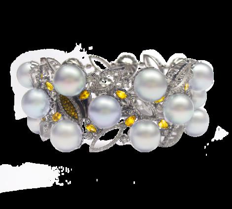Оригинальный браслет из золота с бриллиантами, сапфирами и жемчугом, артикул 71147 - Baskrin