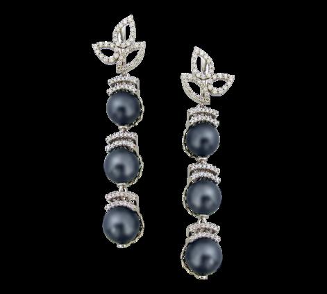 Серьги из белого золота с бриллиантами и черным жемчугом, артикул 41147a - Baskrin