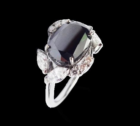 Кольцо из белого золота с белыми и черными бриллиантами, артикул 33348 - Baskrin