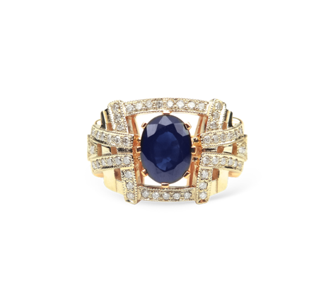 Кольцо из золота с бриллиантами и сапфиром, артикул 30447 - Baskrin