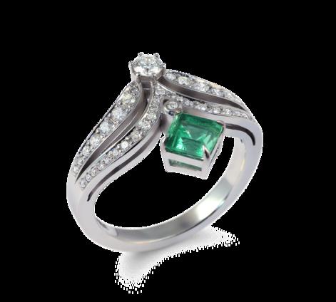 Кольцо из белого золота с бриллиантами и изумрудом, артикул 33558 - Baskrin