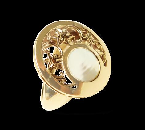Кольцо из золота с перламутром, артикул 33220 - Baskrin