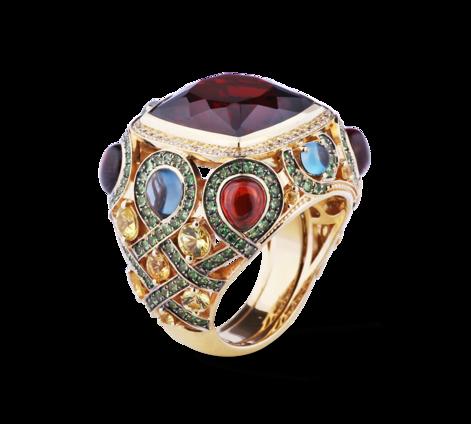 Кольцо из желтого золота с драгоценными камнями, артикул 33415-2, фото 2 - Baskrin