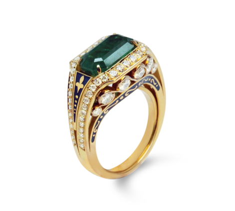 Кольцо из золота с бриллиантами и изумрудом, артикул 33292 - Baskrin