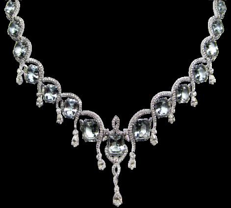 Оригинальное колье из белого золота с бриллиантами и аквамаринами, артикул 81162 - Baskrin