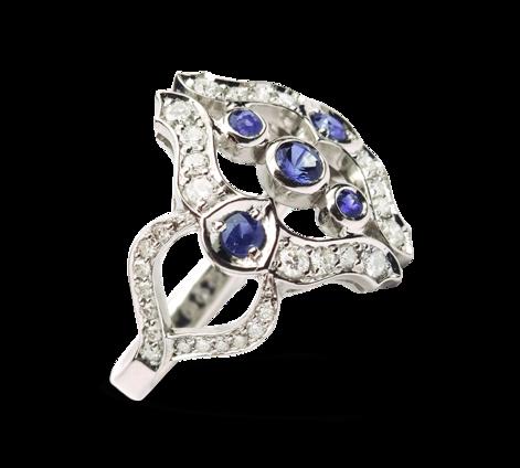 Кольцо из белого золота с бриллиантами и сапфирами, артикул 30512 - Baskrin