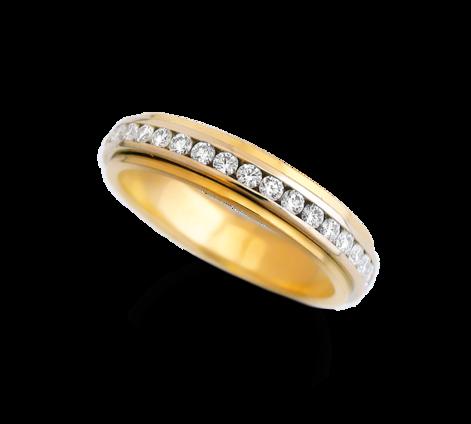 Обручальное кольцо из золота с бриллиантами, артикул 31467 - Baskrin
