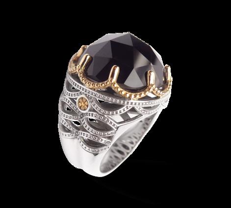 Кольцо из белого золота с морионом, артикул 33312 - Baskrin