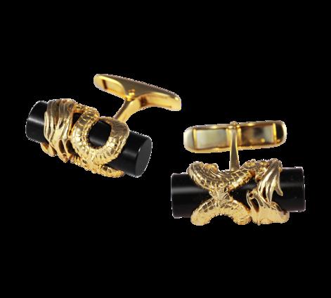 Оригинальные мужские запонки из золота с агатом, артикул 20010 - Baskrin